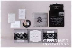 These silk trifold wedding invitations are designed with three equally sized panels with engraved invitations and black lace to hold the inserts in place.