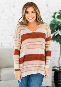 We are all heart eyes over our new Everest Striped Long Sleeve Tunic! From the dolman style sleeves, to the wide v-neck, to the trendy striped detail and longer length, what's not to love? Our top features an oversized fit and is so soft and comfortable it will quickly become a go-to piece in your closet! We love it paired with your favorite jeans and a fun hat for a trendy yet comfy outfit! Casual Outfit Ideas, Cute Casual Outfits, Cute Outfits