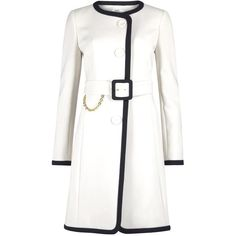 Paule Ka Two-tone Belted Coat ($370) ❤ liked on Polyvore featuring outerwear, coats, jackets, coats & jackets, white, belted coat, white waist belt, coat with belt, white coat and belt coat