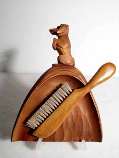 Crumb Tray and Brush Butler Servant Hand Carved ca. 1930