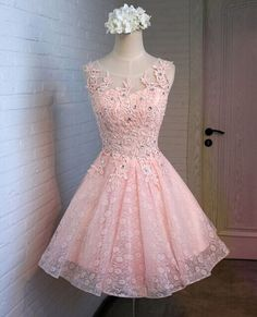 Pink Lace homecoming dress, 2016 Short homecoming dress,