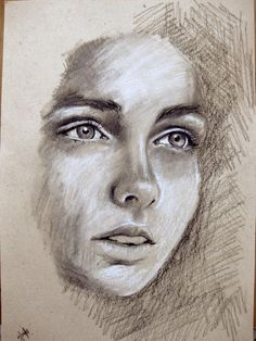 """""""Face"""" - Desenho a carvão sobre papel (original retirado do Pinterest)"""