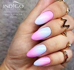 Call Me a Unicorn & Miss America, Miami Collection by Indigo Educator Marta Rybicka, Lubin Dope Nails, Pink Nails, Dream Catcher Nails, Acrylic Nail Set, Nail Piercing, Long Fingernails, Nail Soak, Indigo Nails, Nail Ring