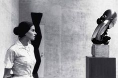 """Constantin Brancusi. From left to right: The Newborn, Mademoiselle Pogany II, Sleeping Muse II, Head and Fish. Installation view at Paul Kasmin Gallery during the exhibition """"Brancusi in New …"""