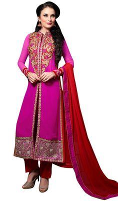 USD 52.75 Magenta Georgette Pakistani Style Suit 55656
