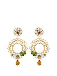 Daisy embellished hoop earrings  | Dolce