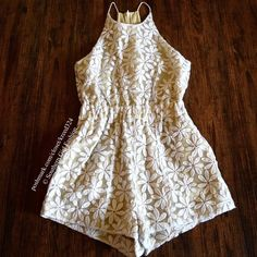 """SHAKUHACHI Romper Floral Embroidered Boho Jumpsuit Size XS.  New Without Tags. $260 Retail + Tax.   Ivory daisy embroidered cotton jumpsuit with sheer chiffon overlay and nude lining.  Elastic waistband.  Hidden back zipper.     ❗️ Please - no trades, PP, holds, or Modeling.   💰 Bundle 2+ items for a 20% discount!   👠 Stop by my closet for even more items from this brand!  ✔️ Items are priced to sell, however reasonable offers will be considered when submitted using the blue """"offer"""" button…"""