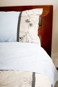 Beautiful duvet and pillow cases made with Ink and Spindle hand screened fabrics - sorta like the colors for new bedding