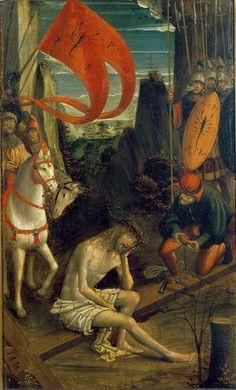 Ferrari Defendente  - Cristo in meditazione seduto sulla croce - 1520 ca. - Accademia Carrara di Bergamo Pinacoteca