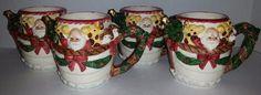 4 VINTAGE 1995 FITZ & FLOYD NOAH'S ARK SANTA MUGS WITH ANIMALS/RARE/CHRISTMAS