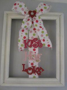 Valentines day door or wall decor kiss hug by VintageChicCharm, $9.99