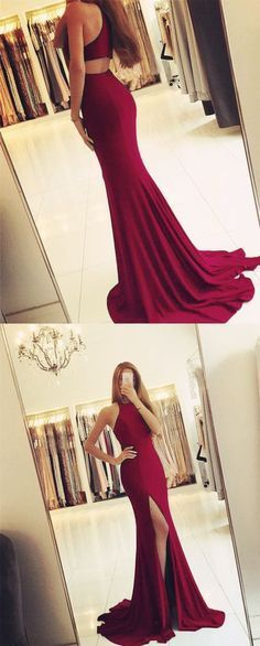 Long Jersey Backless Mermaid Prom Dresses Burgundy Evening Gowns With Split