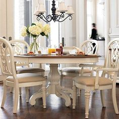 "Round table includes 18"" leaf that extends table to 66""without leaf table is 48"" in diam. 30"" h"
