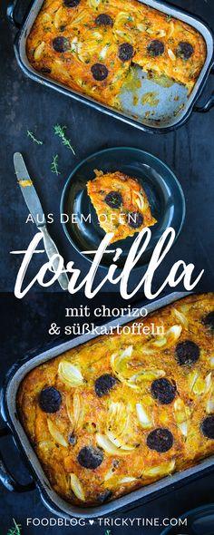 köstliche tortilla aus dem ofen mit chorizo und süßkartoffeln ♥ trickytine.com