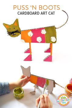 Puss N' Boots Cardboard Art Cat - great way to upcycle left-over cardboard boxes. Craft for toddlers or cardboard toy to make for kidsPuss N' Boots Cardboard Art Cat - free pdf template and Tea can lamp - step by step Photo tutorial - Bildanleitu Kids Crafts, Cat Crafts, Animal Crafts, Projects For Kids, Etsy Crafts, Upcycled Crafts, Recycled Art, Art Carton, Cardboard Crafts