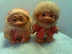 2 vintage altra rare black glass eyed little brother Dam Trolls #Dam