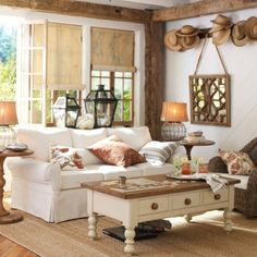 rustic living room love the exposed beams