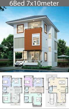 House design plan with 6 bedrooms – Home Design with Plan Haus Design Plan mit 6 Schlafzimmern – Home Design with Plan Modern Small House Design, Duplex House Design, Duplex House Plans, Minimalist House Design, Dream House Plans, Cool House Designs, Home Building Design, Home Design Plans, Building A House