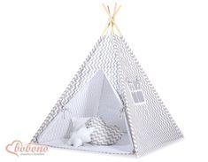 Tipi (Teepee) pour enfant avec textile à zigzag gris