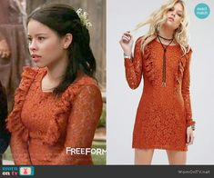 Mariana's orange lace dress on The Fosters.  Outfit Details: https://wornontv.net/67522/ #TheFosters