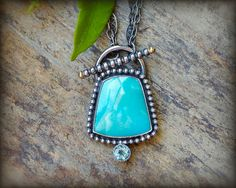 r e s e r v e d (third payment) - Sleeping beauty turquoise necklace. Sterling silver blue apatite pendant with turquoise and 18K gold.