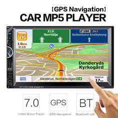 2 Din Car Video Player 7'' 2Din Car Radio Stereo GPS Navigation FM RDS Bluetooth Remote Control Rear View Camera