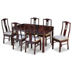 60in Rosewood Flower and Bird Motif Dining Table with 6 Chairs.  Intricately carved in cherry blossom and bird motif on the chairs and the edges of the table. Dark cherry finish. Oriental Rosewood dining set.