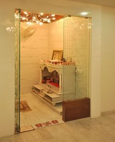 [ Pooja Room Designs In Hall Pooja Room Home Temple ] - Best Free Home Design Idea & Inspiration Living Room Partition Design, Pooja Room Door Design, Room Partition Designs, Temple Room, Home Temple, Temple Design For Home, Mandir Design, Puja Room, Prayer Room