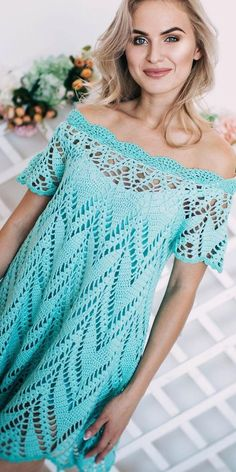 30 Best Free Crochet Dresses Crochet Patterns 2019 - Page 10 of 33 - hairstylesofwomens. Bikini Crochet, Crochet Beach Dress, Crochet Summer Dresses, Crochet Blouse, Knit Dress, Crochet Skirts, Crochet Tops, Clothing Patterns, Dress Patterns