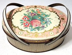 Pretty Oval Flowered Vintage Sewing Box Tin, Picnic Basket w/ Swing Handles