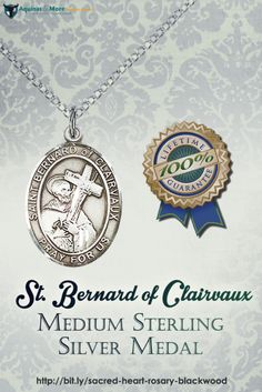 This St. Bernard of Clairvaux Medium Sterling Silver Medal measures 3/4in. x 1/2in. The medal comes with a 18in. sterling silver chain in a gray velvet gift box.