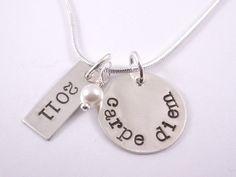 Carpe Diem hand stamped necklace by BarbFredinDesigns on Etsy