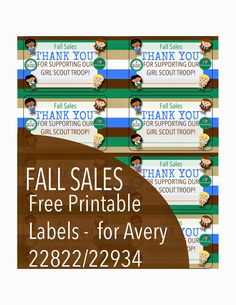 Fashionable Moms: Free Printable: Fall Sales Thank You labels - Troop 2439 - Girl Scout Cookie Sales, Girl Scout Cookies, Girl Scout Leader, Girl Scout Troop, Thank You Labels, Girl Scout Activities, Girl Scout Juniors, Daisy Girl Scouts, Girl Scout Crafts