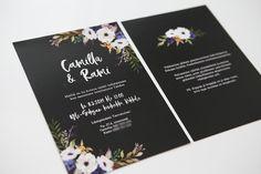 Bold black floral wedding invtations / www.makeadesign.fi / modernit mustat kukalliset hääkutsut #hääkutsu #hääkutsut #modernithäät #hääkutsuideat