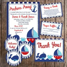 Ahoy its a boy nautical baby shower invitation with anchor and diy nautical baby shower package navy and red whale baby shower invitations package sailboat crab invite bundle navy red and blue wave filmwisefo