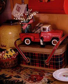 Ranch Farmgirl >> Midsummer Daydreaming - glamper goodies - plaid picnic basket, toy truck, Vagabond cooler.