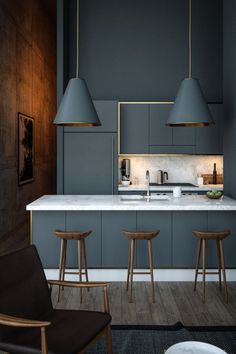 Trend We're Loving: Deep Blues + Dark Wood Rooms: sleek kitchen