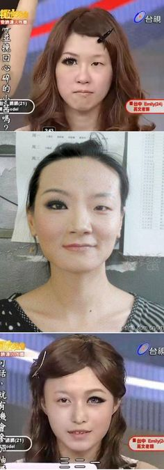 Asians girls with half their face made up. They are most likely wearing circle lenses to make their eyes look bigger. And they've probably glued the fold above their eyes to give themselves a bigger eyelid.