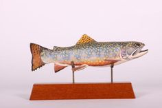 """9"""" Brook Trout Fish Spearing Decoy by Jim Foote of Gibraltar, MI, Carved Tail…"""