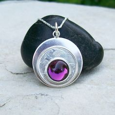 Small Sterling Silver and Purple Glass Circles Pendant Necklace by HEvansGems on Etsy
