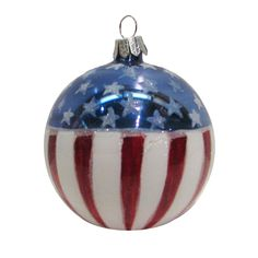 USA Flag Glass Ball Ornament