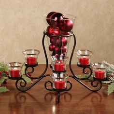Brilliance Glass Centerpiece Vase with Tealight Holders Glass Candle Holders, Candlestick Holders, Candlesticks, Glass Centerpieces, Christmas Centerpieces, Vases, Christmas Decorations, Table Decorations, Red Candles