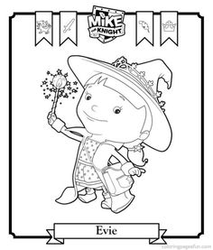 coloring page Evie on Kids-n-Fun. At Kids-n-Fun you will always find the nicest coloring pages first! Cool Coloring Pages, Free Printable Coloring Pages, Free Printables, 3rd Birthday Parties, Boy Birthday, Birthday Ideas, Mike The Knight, Castle Crafts, Knight Party