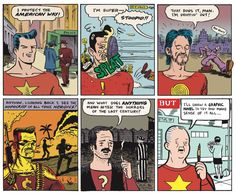 """I knew Matt Madden has a definite penchant for comics that use constraints (either rather liberal to extremely difficult), but I didn't think even he would pull of this stunt : present an overview of the history of US comics from the Golden Age of superheroes to the graphic novels of today.  Madden evokes not only the prevailing art style of these various """"ages"""", but also the themes and attitude towards their predecessors."""