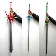 theeternalouroboros: Oh hey Tumblr did you think I forgot about you? Ok yeah I did… Here's what I've been working on for the last month! Hikaru, Umi, and Fuu's swords from CLAMP's Magic Knight Rayearth series. Bringing them to Anime Boston reallll soooon can't wait!! Reblogging this because these props are amazing and I'm so excited to see these costumes in person at Anime Boston later this month!