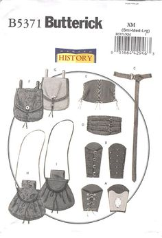 BUTTERICK 5371 - UNCUT - WRIST BRACERS, CORSET, BELT AND POUCHES