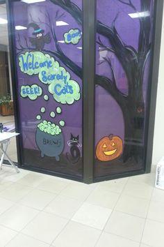 Haunted Office, window paint Halloween Decorations, Halloween Ideas, Window Art, Windows, Paintings, Decorating, Decor, Decoration, Paint