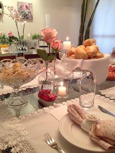 Mesa posta branco&rosa