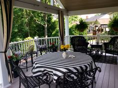 Black and white covered porch