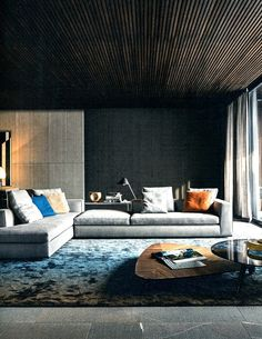 nice ceiling design and concrete walls